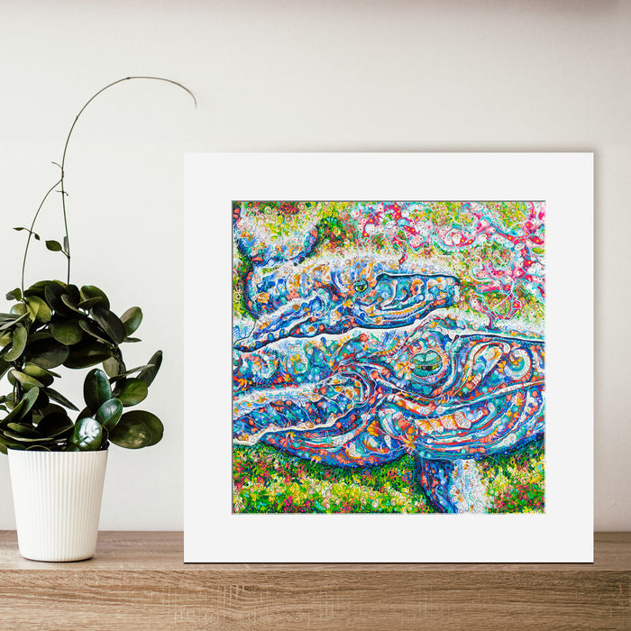 'Blue Whales Mumma Maysie and Baby Tilda' 30cm x 30cm OPEN-EDITION Print
