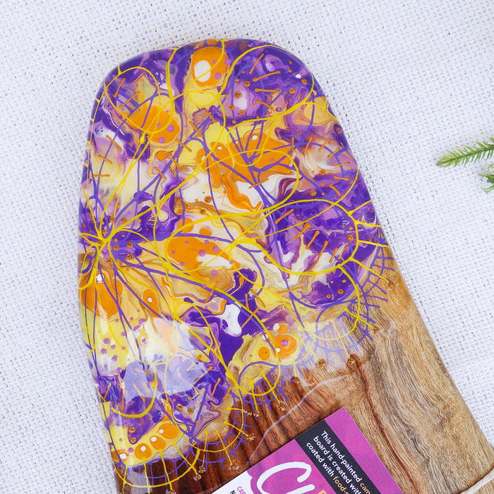 Purple Golden Yellow Flowers Cheese Board