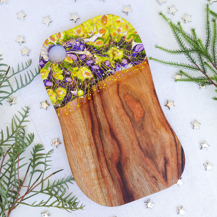 Purple Green Leaf Pattern Cheese Board