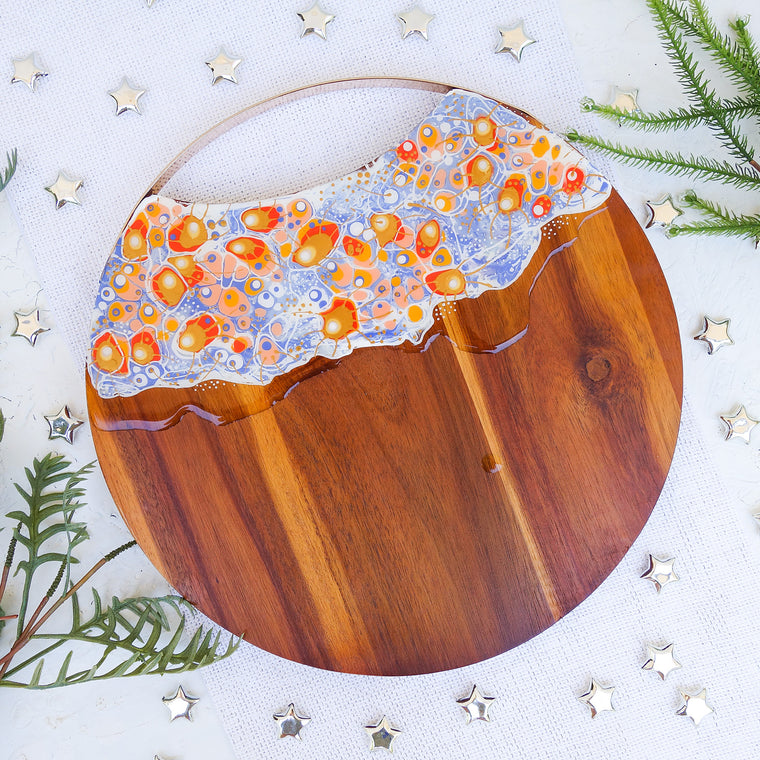 Soft Blue and Orange Round Cheese Board
