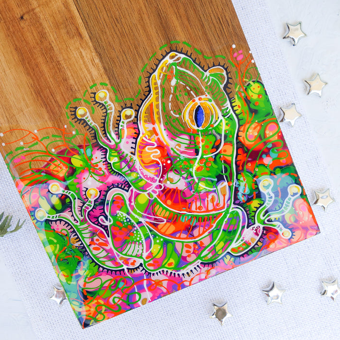Funky Green Frog Cheese Board/Table Centrepiece