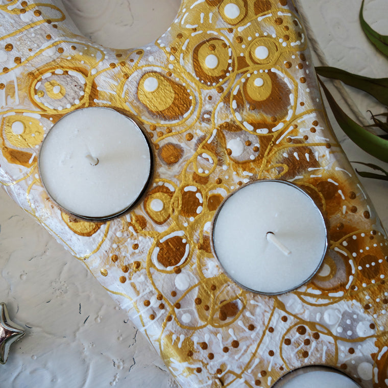 Warm Gold Tea Light Candle Holder
