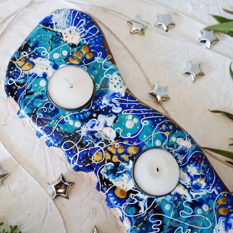 Curly Blue Tea Light Candle Holder