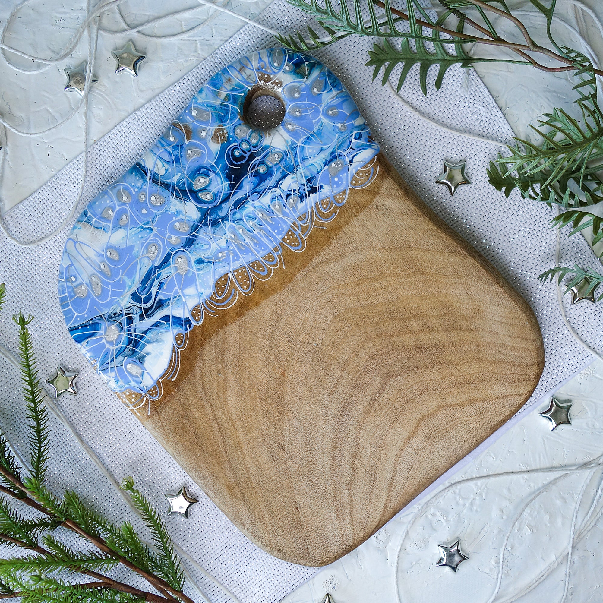 Light Blue Squiggle Cheese Board