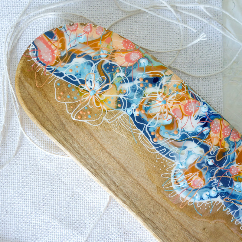 Floral Blue Swirls Cheese Board or Tapas Board