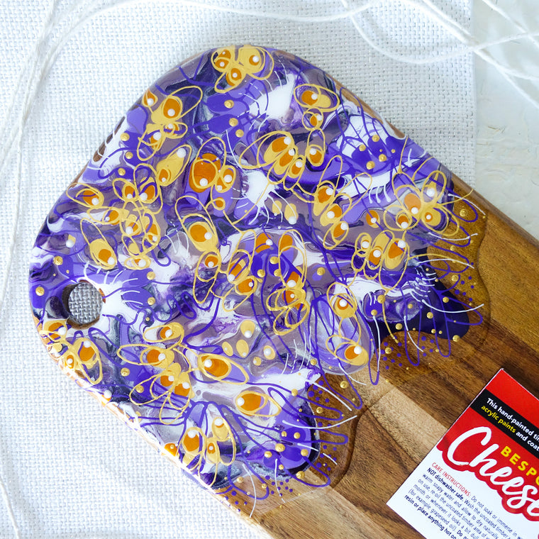 Purple Gold Swirls Cheese Board