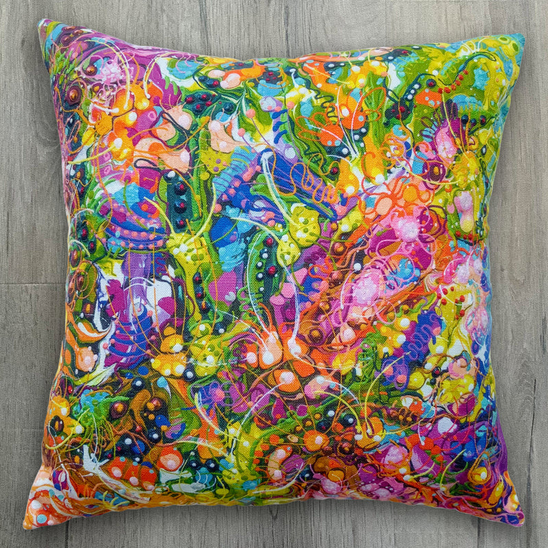 Floral Explosion Luxurious Linen-Feel Cushion