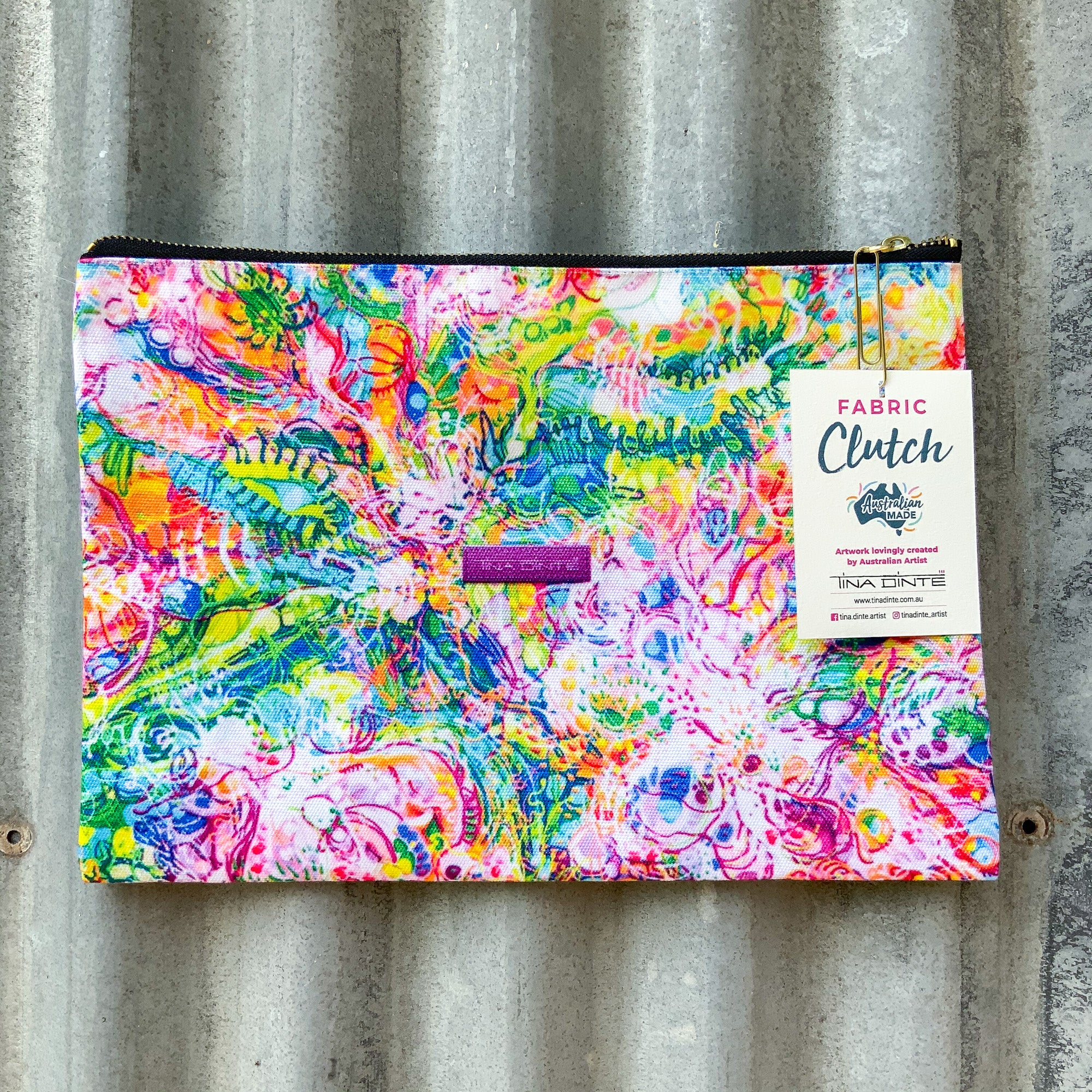 Australian Floral Blooms Fabric Clutch/Pouch