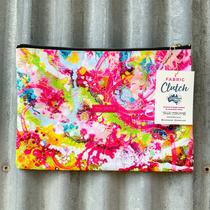 GIFT PACK / Fluro Cameleon Sunset Fabric Clutch & Love Eyes