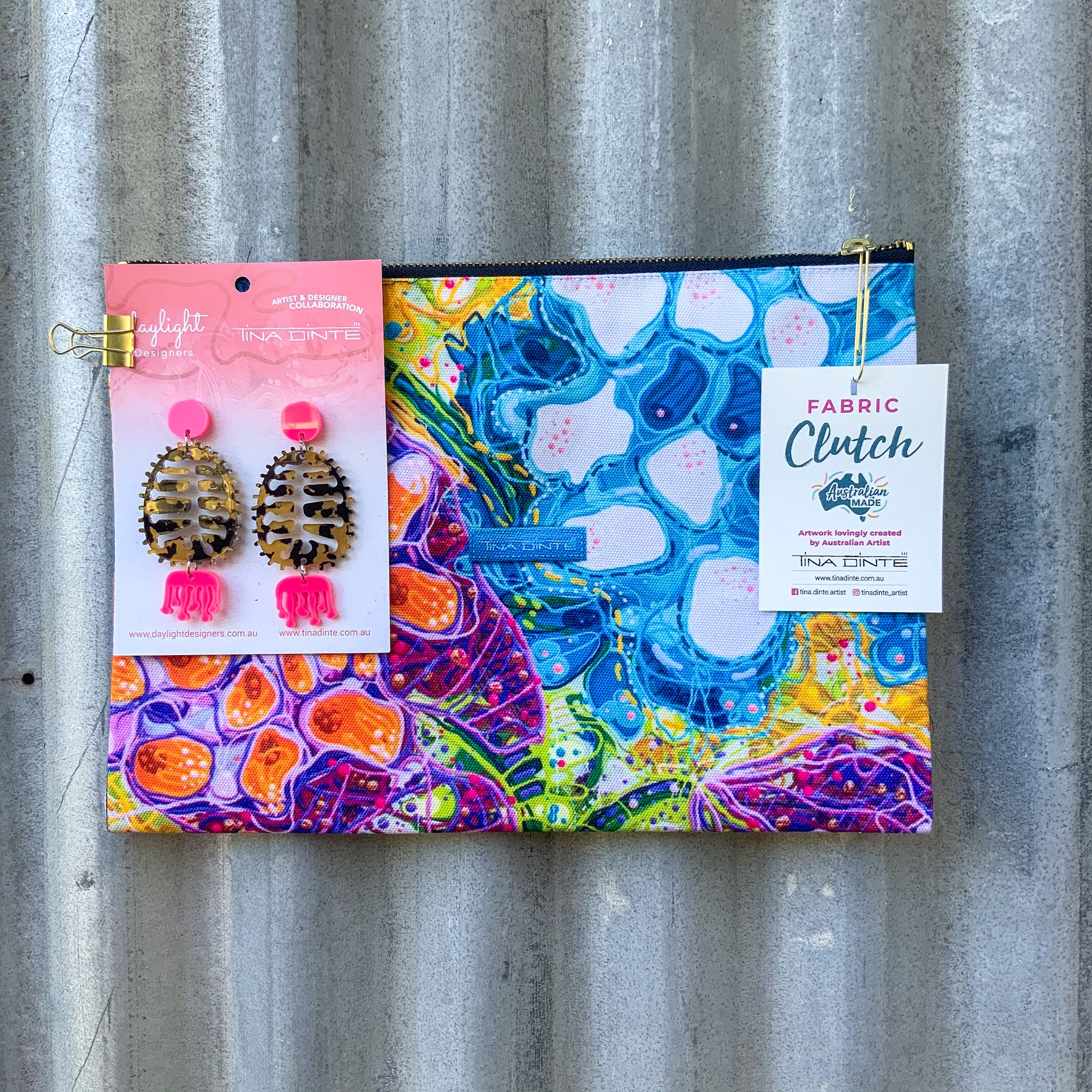 GIFT PACK / Lotus Seed Pods Fabric Clutch & Banksia Earrings