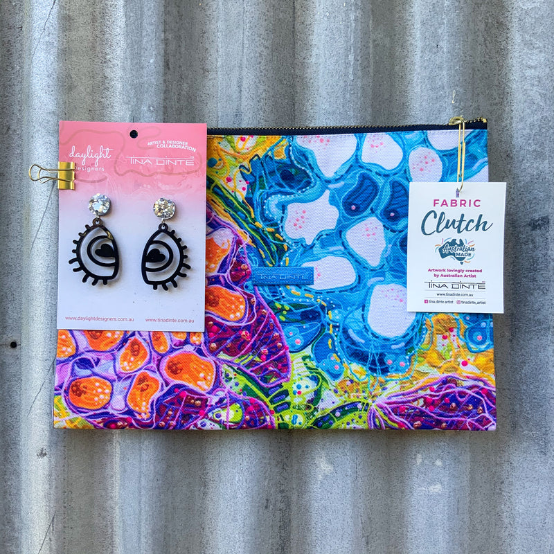 GIFT PACK / Lotus Seed Pods Fabric Clutch & Love Eye Earrings