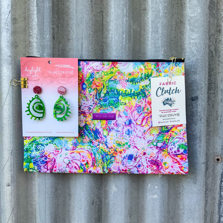 GIFT PACK / Australian Floral Blooms Fabric Clutch & Love Eye Earrings