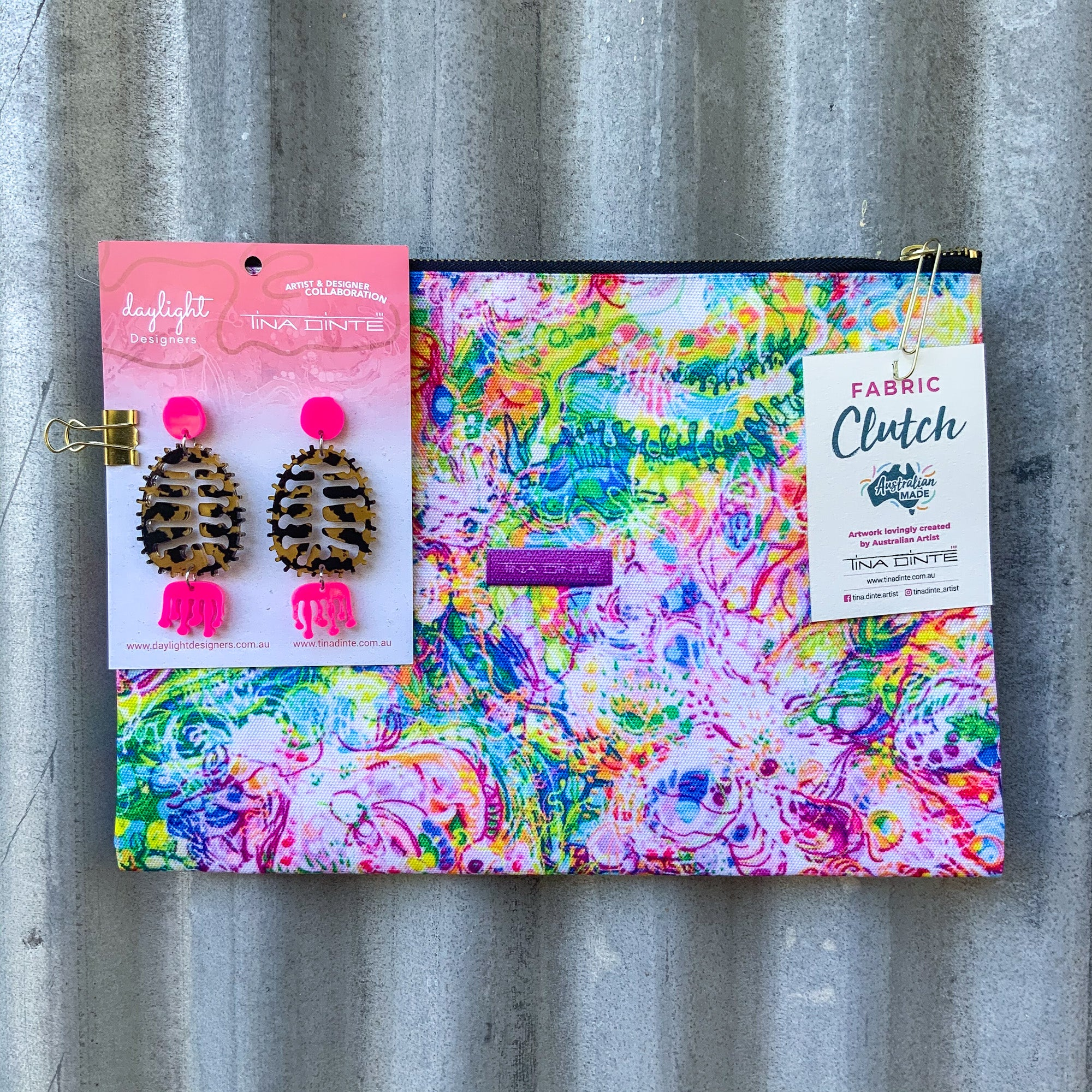 GIFT PACK / Australian Floral Blooms Fabric Clutch & Banksia Earrings