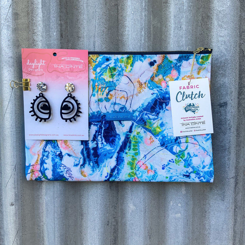 GIFT PACK / Australian Bush Fabric Clutch & Love Eye Earrings
