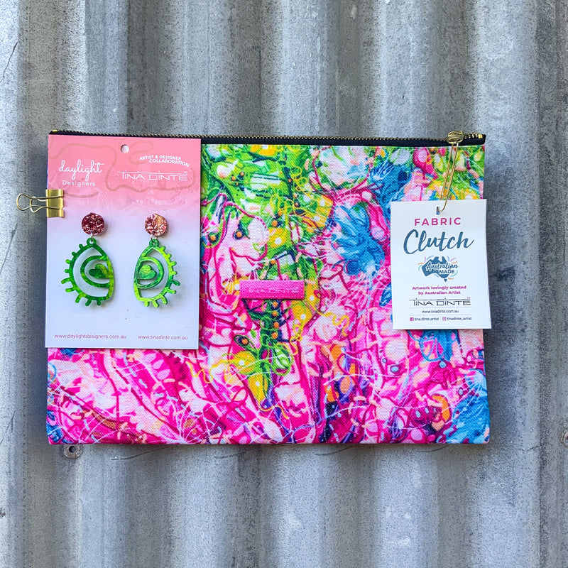 GIFT PACK / Banksia Cuneata Fabric Clutch & Love Eye Earrings