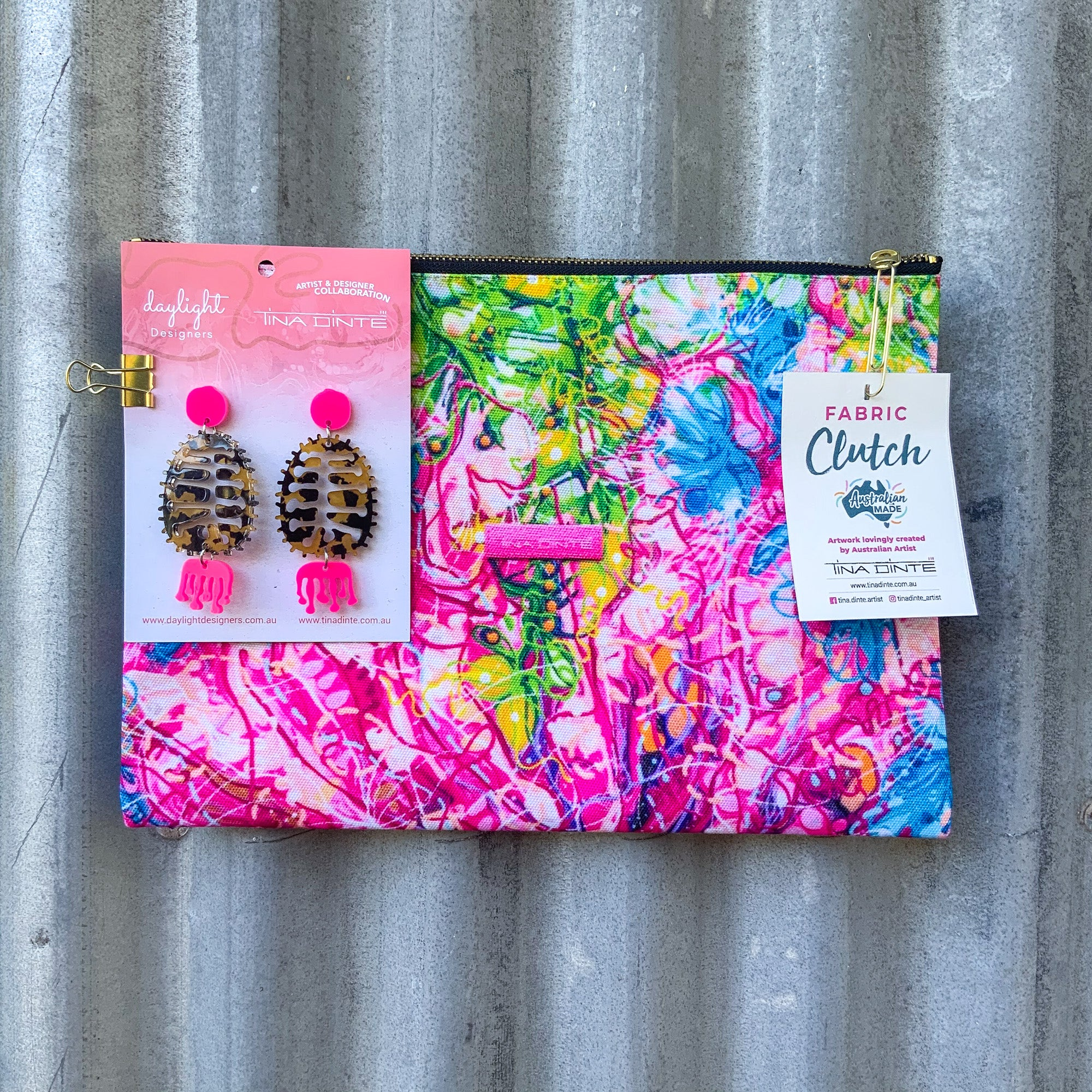 GIFT PACK / Banksia Cuneata Fabric Clutch & Banksia Earrings