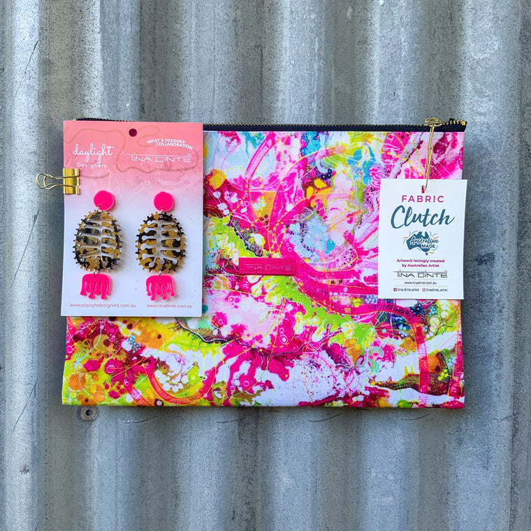 GIFT PACK / Fluro Cameleon Sunset Fabric Clutch & Banksia Earrings