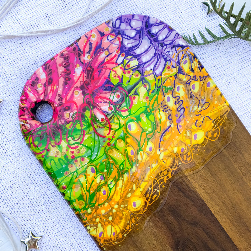 Floral Rainbow Blooms Cheese Board