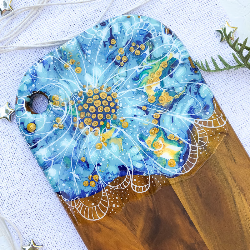 Pastel Blue Flower Cheese Board
