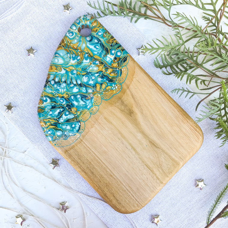 Aqua Gold Zebra Cheese Board