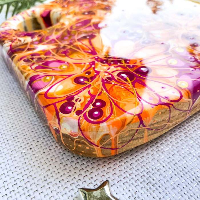 Pink Orange Floral Cheese Board