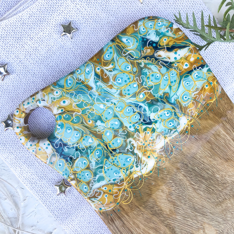 Rich Gold Light Teal Cheese Board