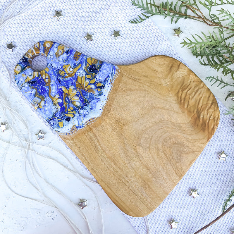 Soft Blue Gold Footsteps Cheese Board
