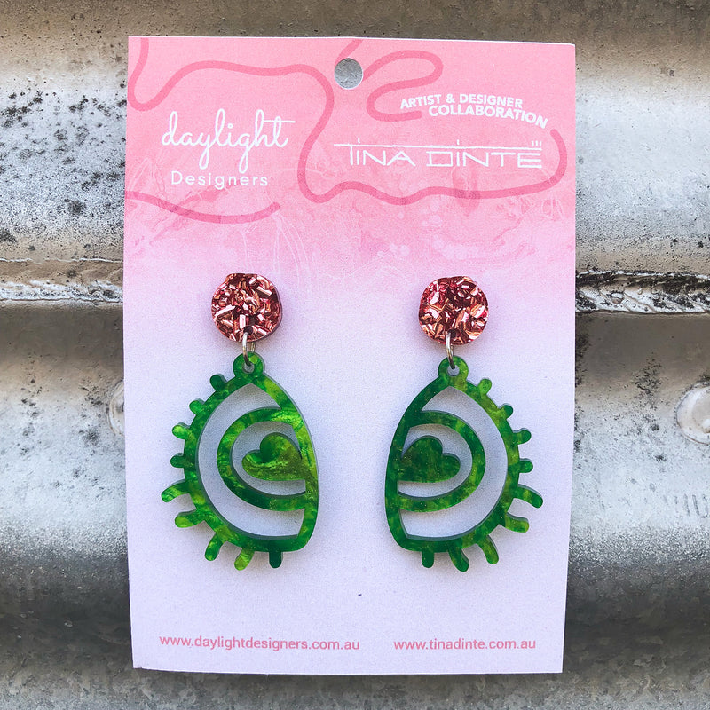 Love Eyes - Rose Gold Chunky Glitter + Green Swirls