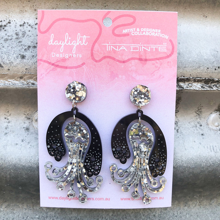 Baby Kracken Earrings - Black + Chunky Silver Glitter