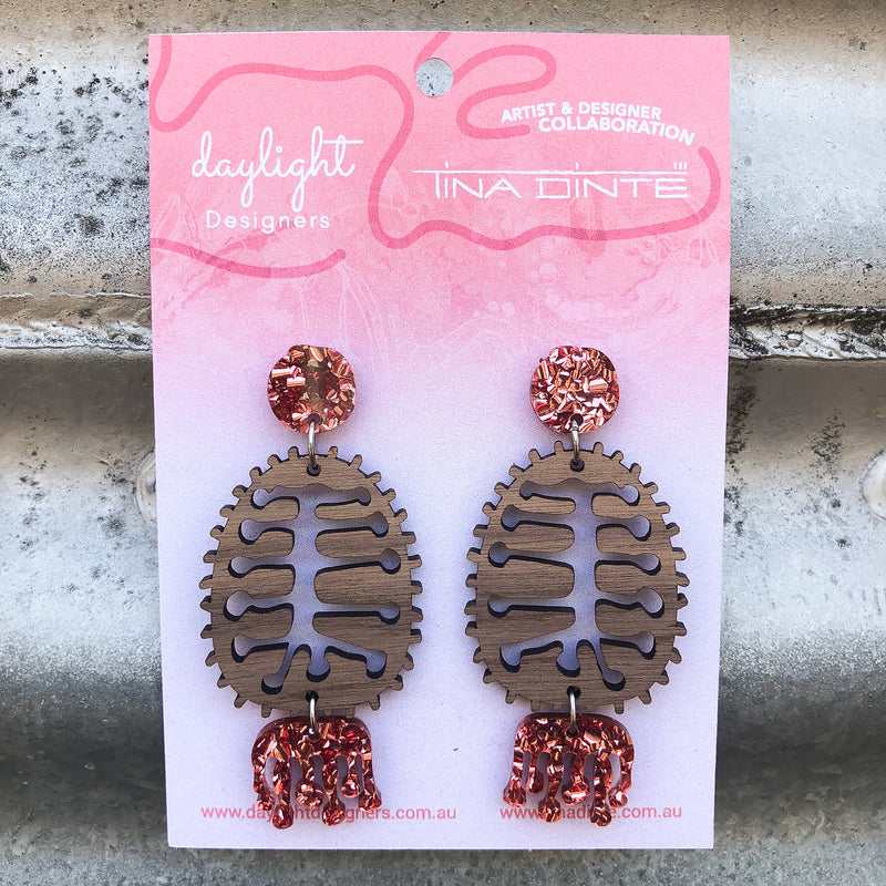Banksia Earrings – Walnut Timber + Rose Gold Chunky Glitter