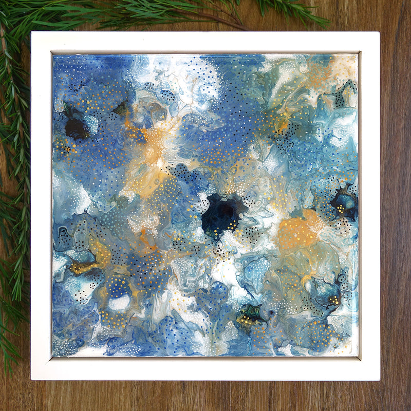 """Starry Night"" Resin-coated Abstract"