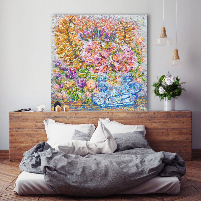 Dreamy Florals In Wonky Vase Original Painting