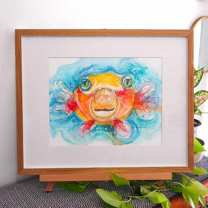 Pearl Puffa Fish Framed Original Illustration