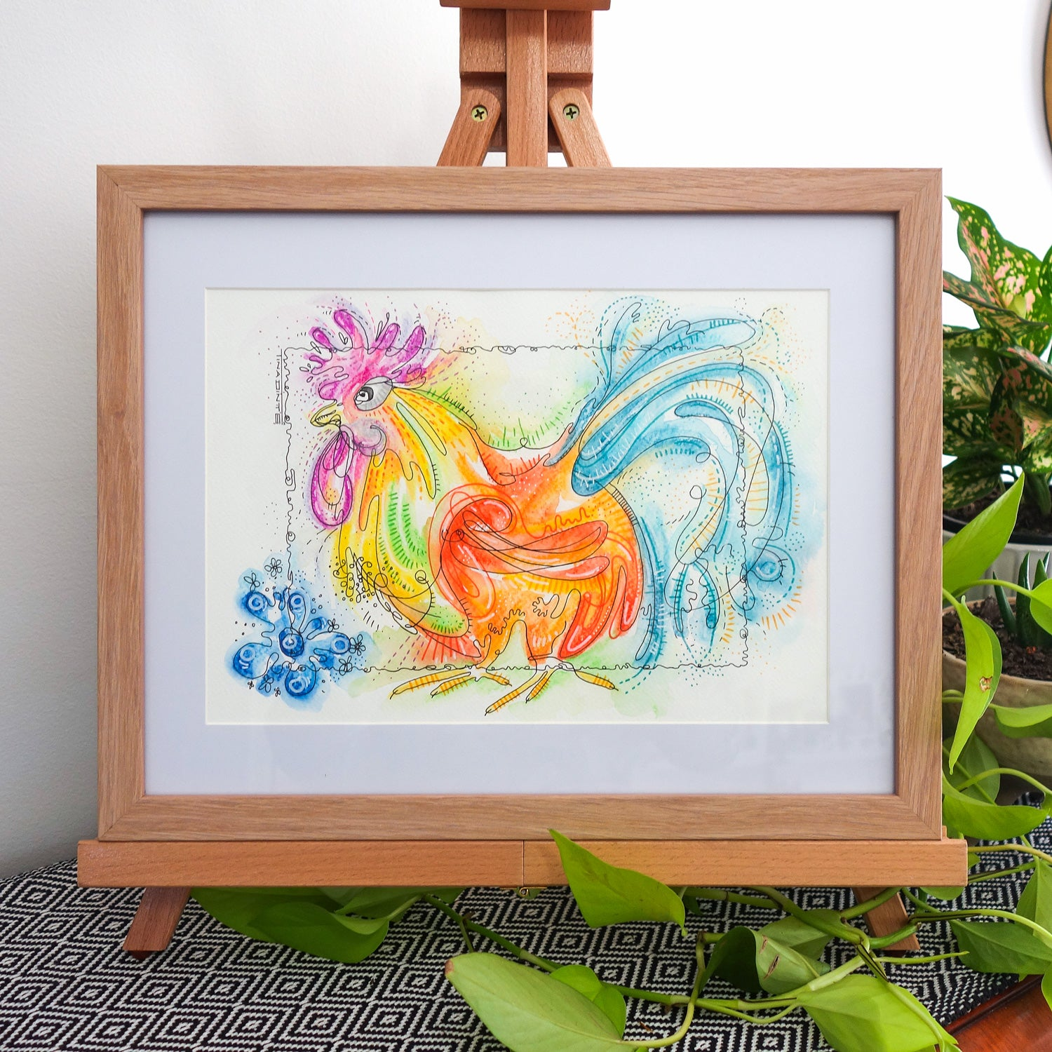 Roger Rooster Framed Original Illustration