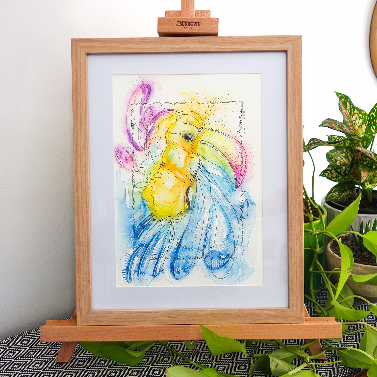 Tammy Toucan Framed Original Illustration