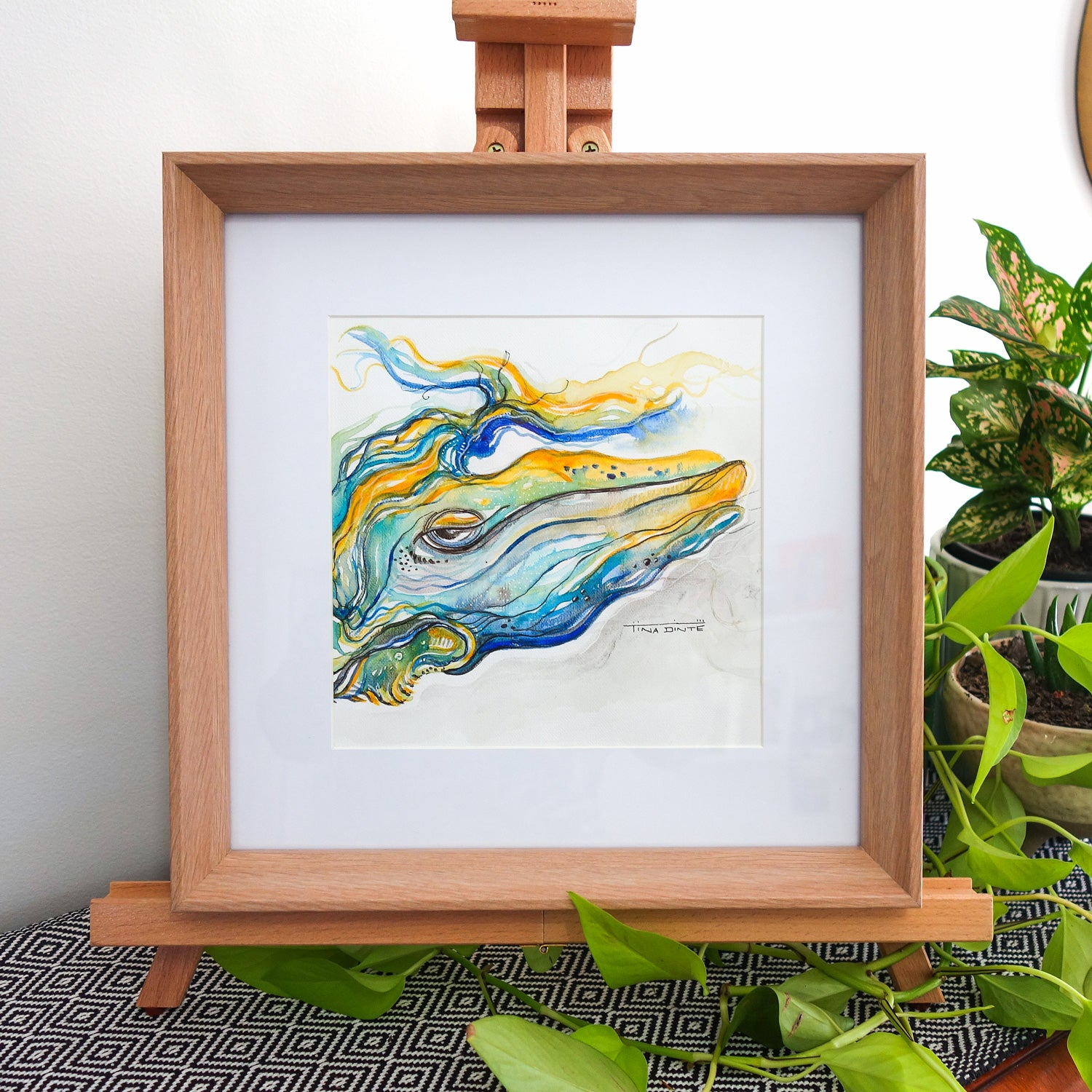 Wallace Whale Framed Original Illustration