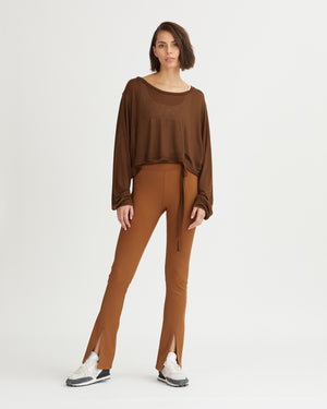DAMIEN RIBBED PANTS WALNUT