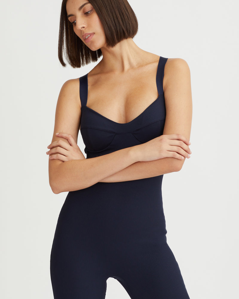 LILA RIBBED JUMPSUIT NAVY