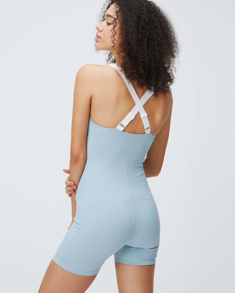 KIZZY RIBBED JUMPSUIT COASTAL & WHITE COMBO