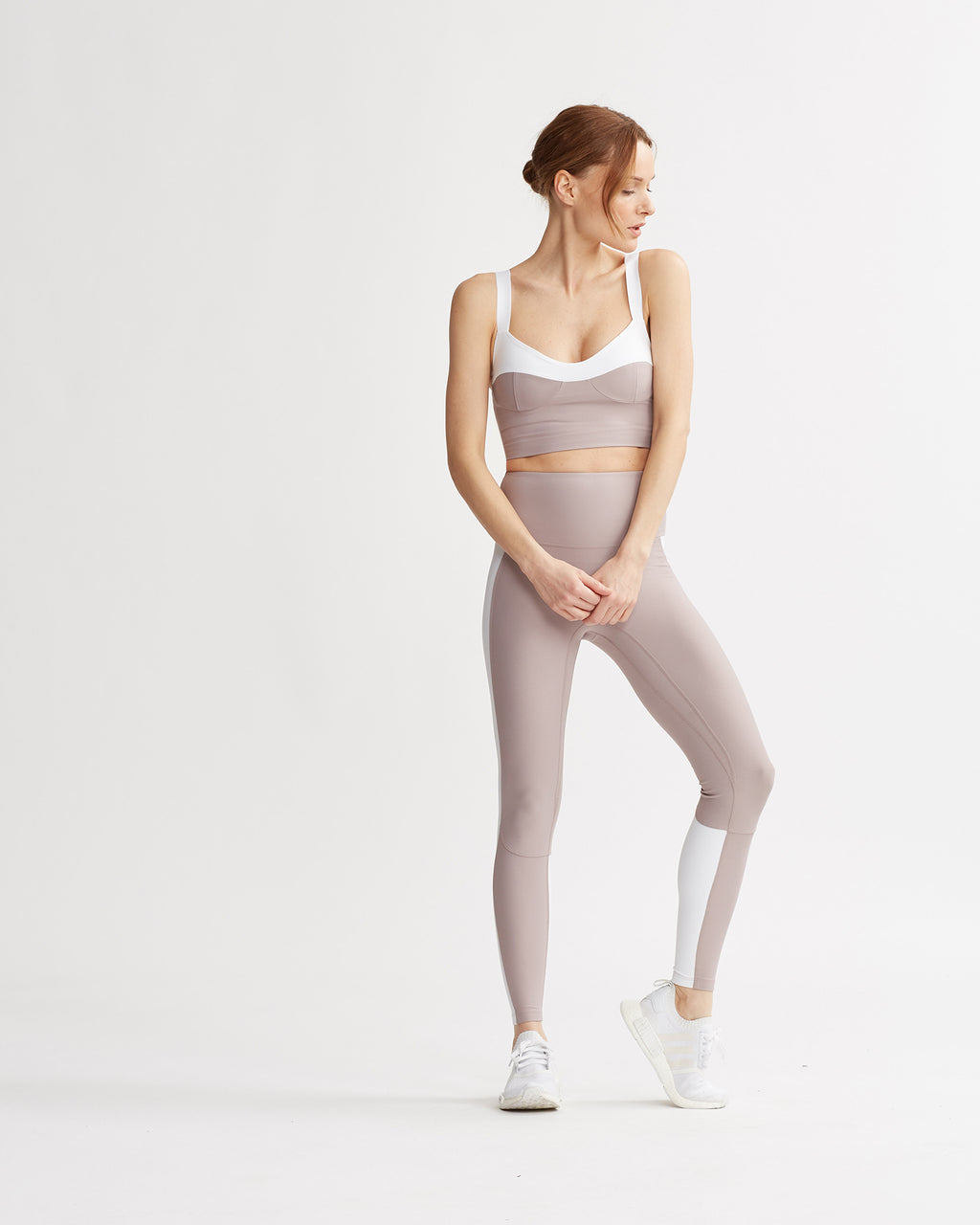 LEVEE LEGGINGS MAUVE & WHITE COMBO