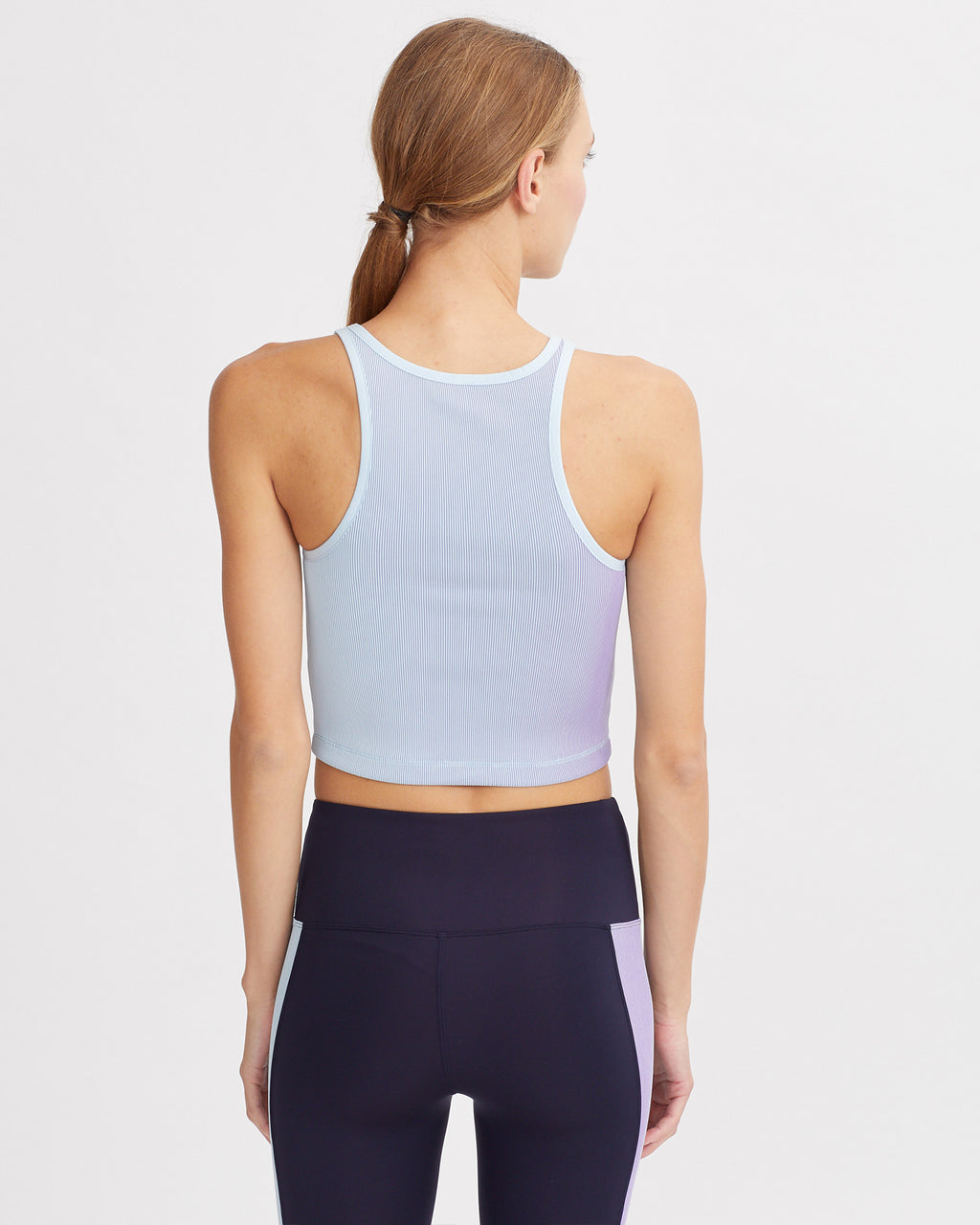 LESLEY RIBBED TANK IRIDESCENT PALE BLUE