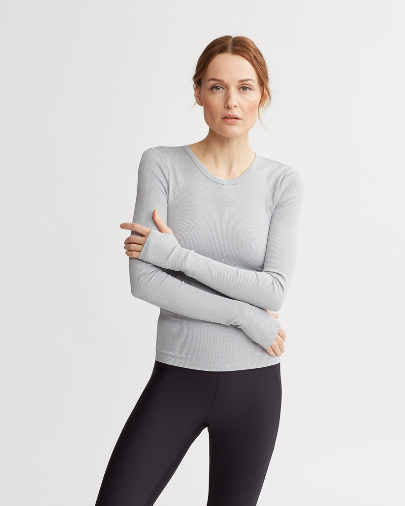 HAINES RIBBED TOP HT GREY