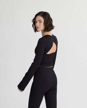 COLVIN RIBBED TOP BLACK