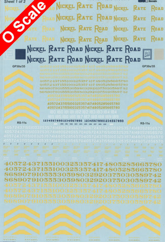 O Scale Decals for Your Nickel Plate Road Diesel Engines