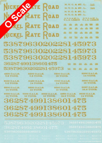 Accurate O Scale Decals for Nickel Plate Small Steam Road Engines and Yard Locos