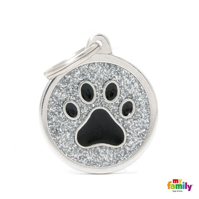 Glitter Chrome Paw Centre Dog Name ID Tag