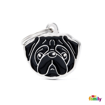Pug Dog Name Tag