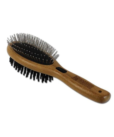 Bamboo Groom USA Anti Shedding Combo Brush with Bristles & Stainless Steel Pins For Cats & Dogs - Pet Supplies