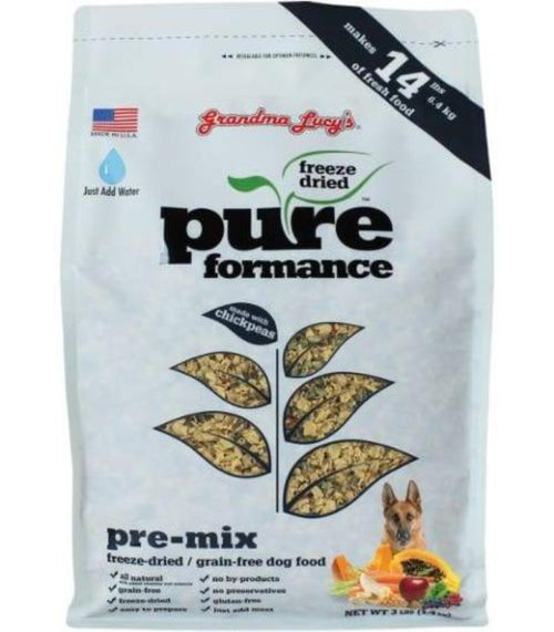 Grandma Lucys Pureformance Pre-Mix For Dogs -100% Vegetarian (3lbs/1.4 kg pack makes 6.3 kgs of food and 8lbs/4.5 kg pack makes 16.3 kgs of