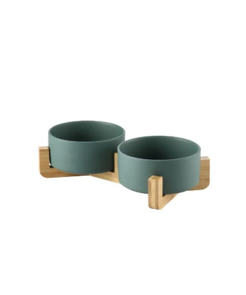 Japanese Raised Feeding Double Bowls For Cats & Dogs - Green / Large - Comfort Supplies